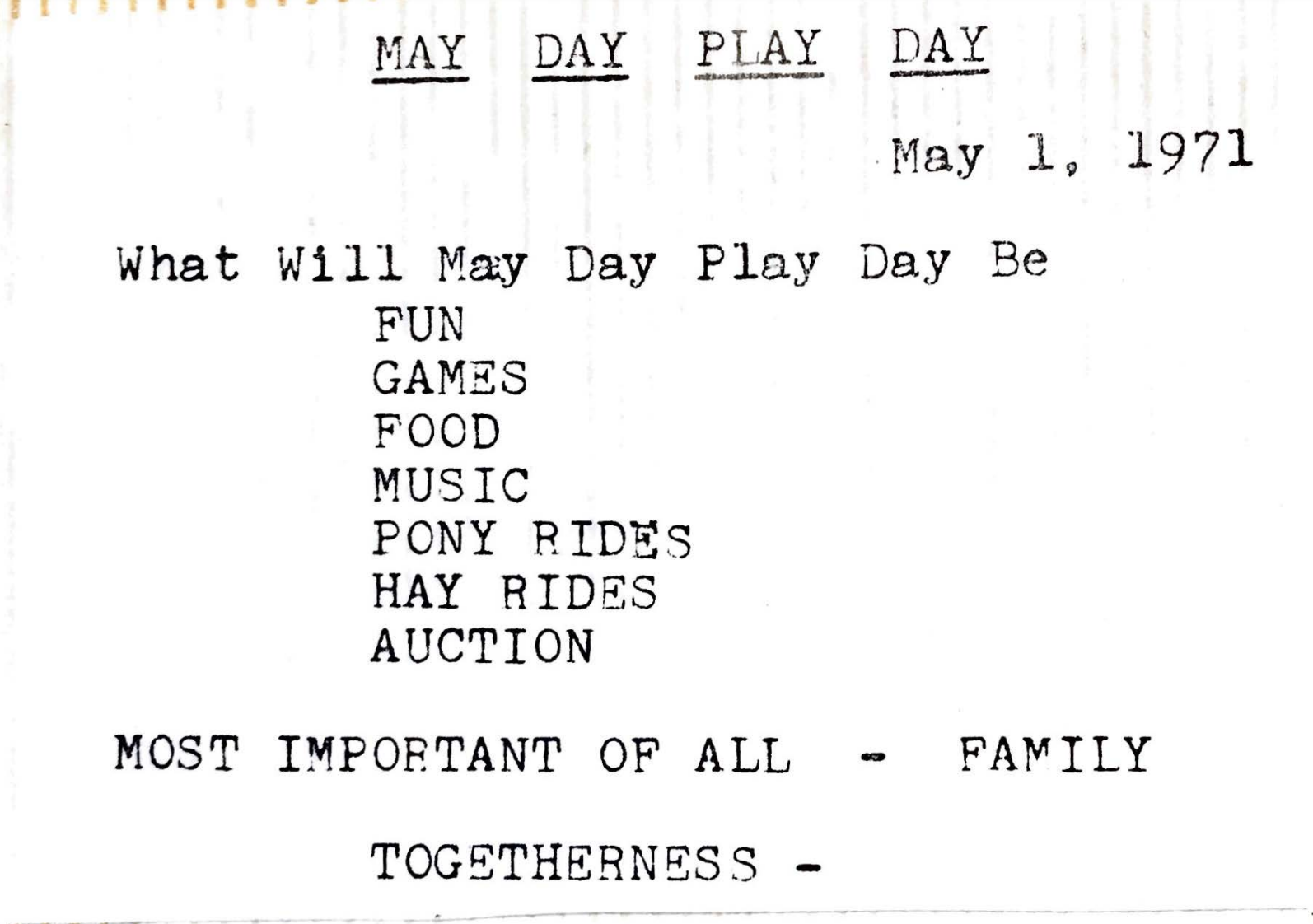 Description of the first May Day Play Day