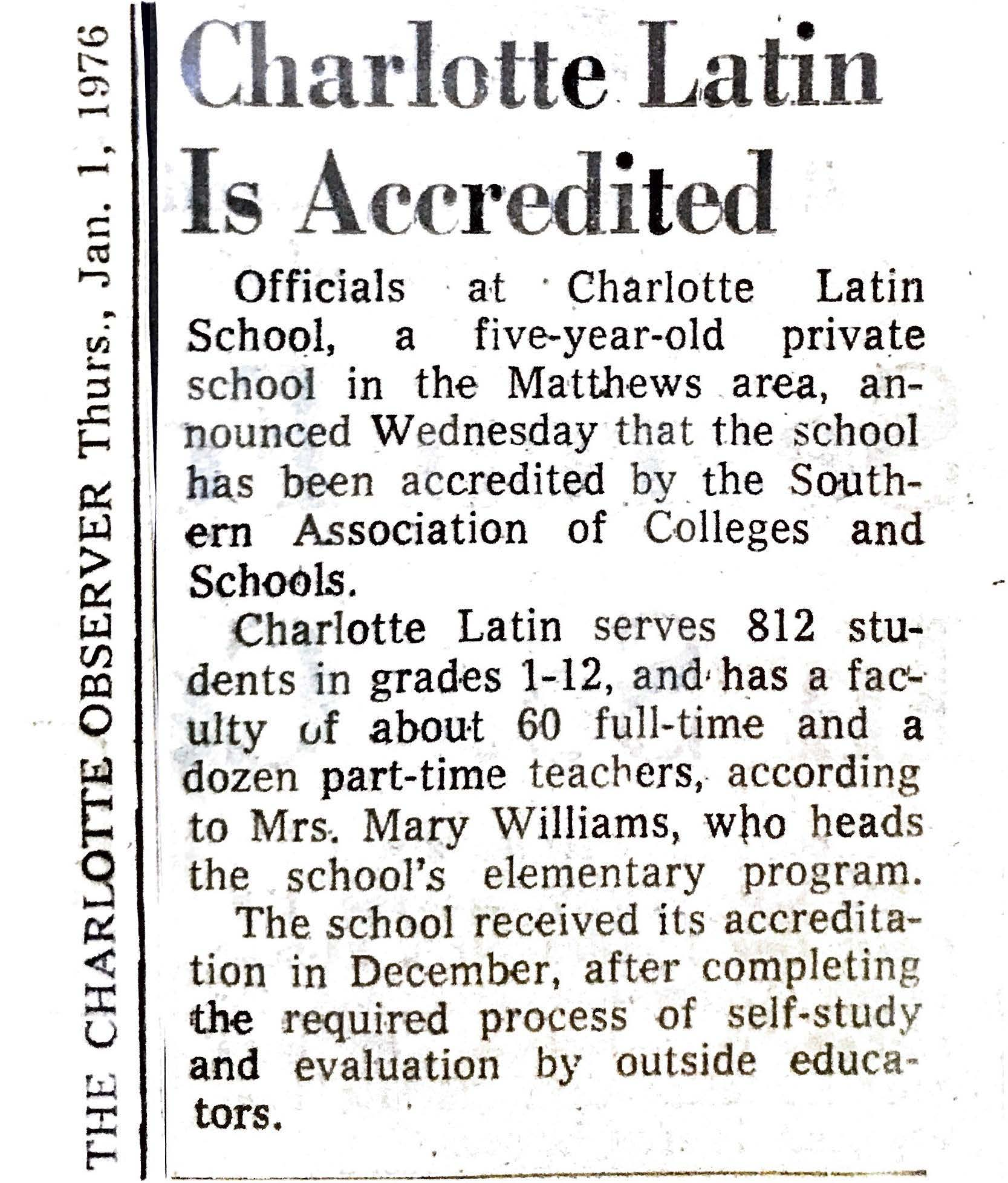 SAIS Accreditation - Latin receives accreditation from Southern Association of Colleges and Schools.