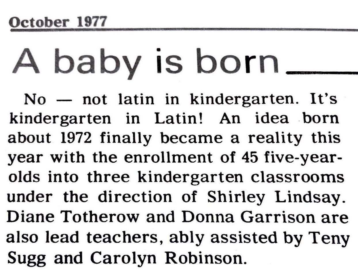 Latin Line  Article on First Kindergarten Class
