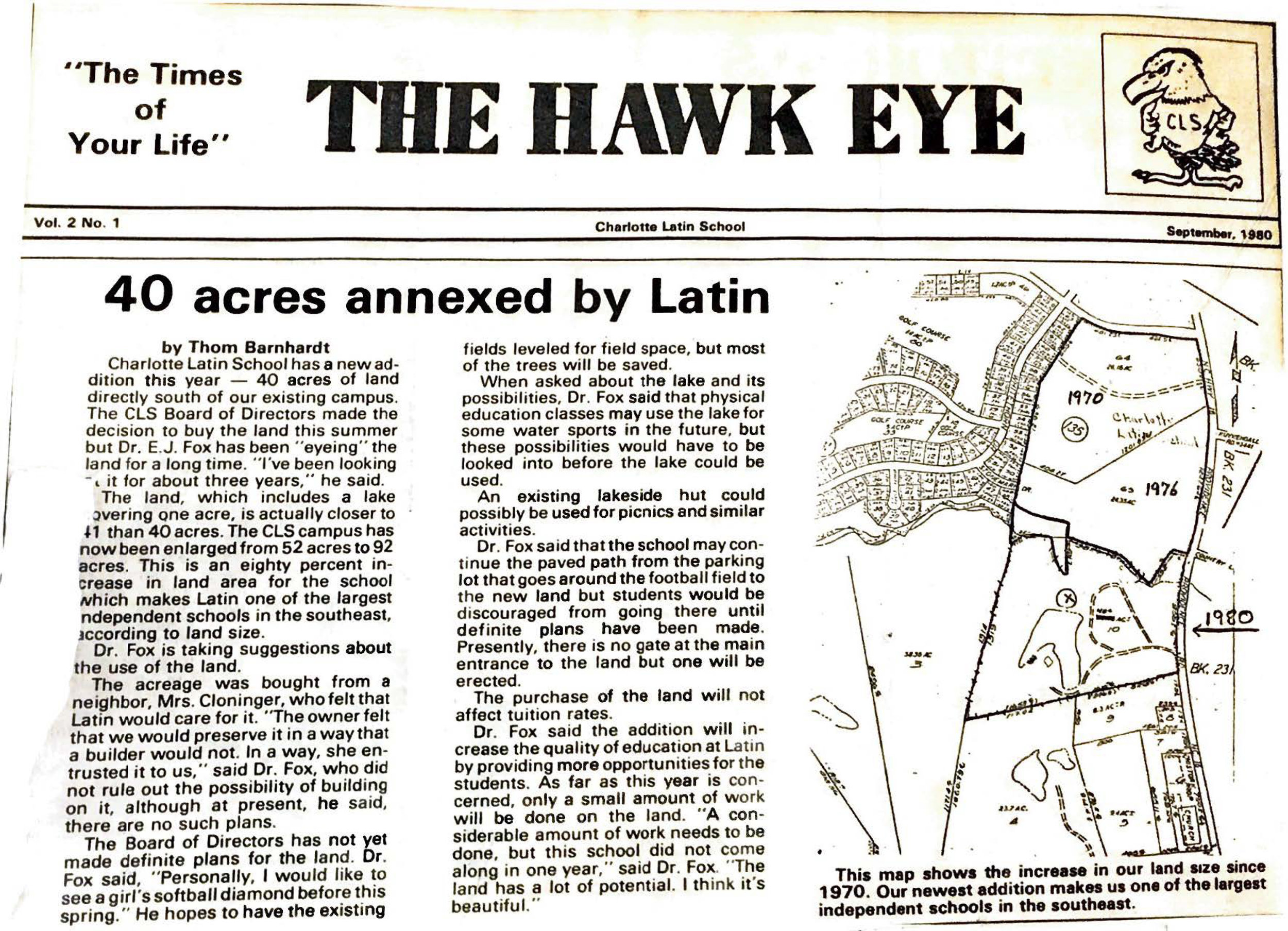 September, 1980,  The Hawk Eye  article on the purchase of land