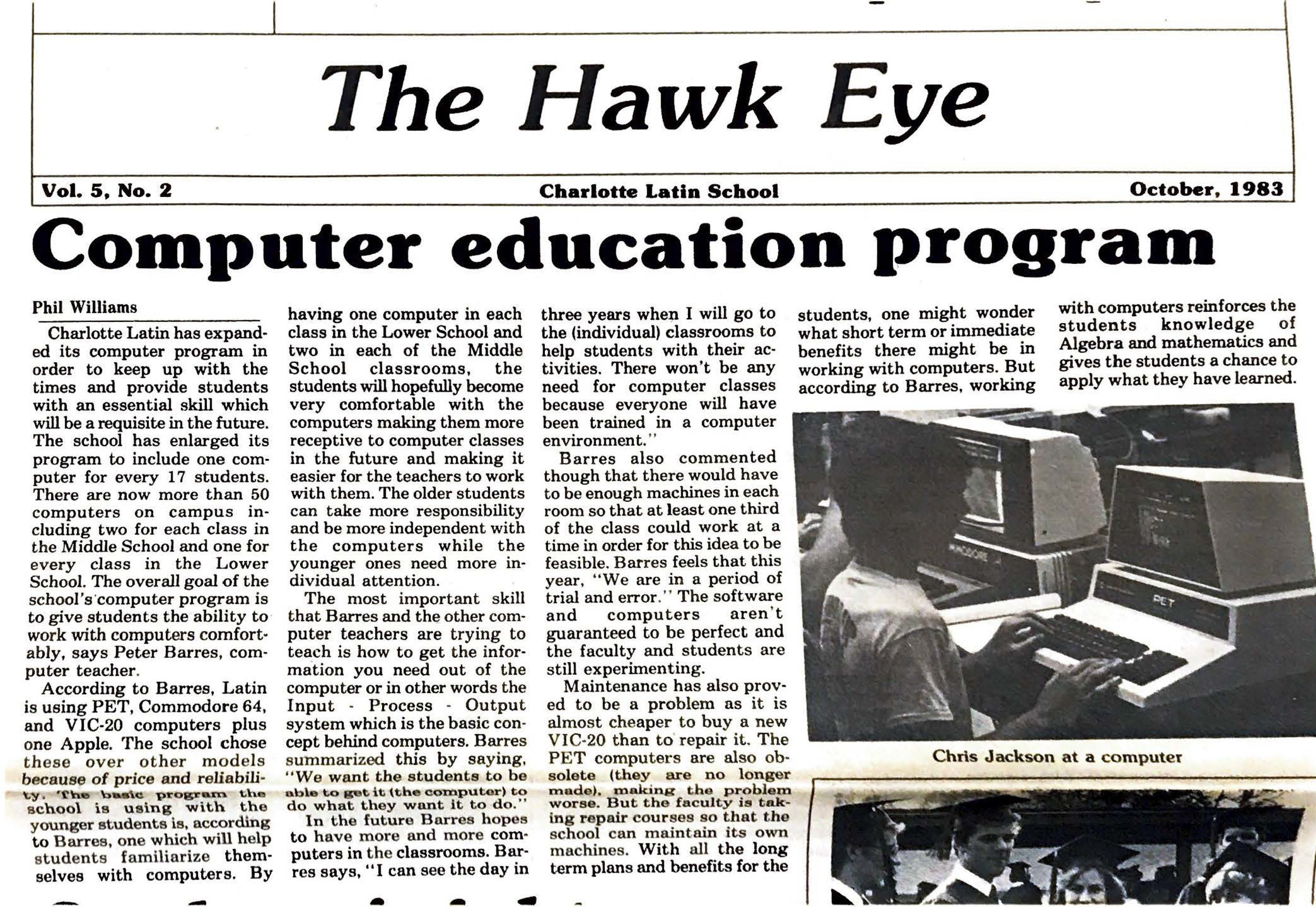 The Hawk Eye  expands on the computer programming course offered on Apple computers