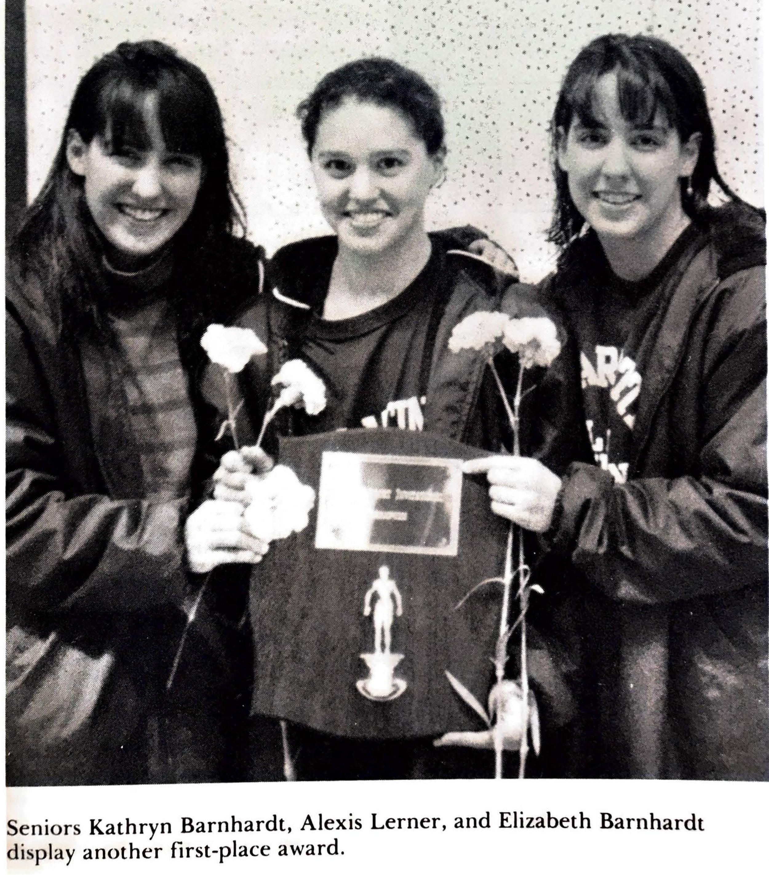 Champion swimmers Kathryn Barnhardt Van Nort '91, Alexis Lerner '91 and Elizabeth Barnhardt '91