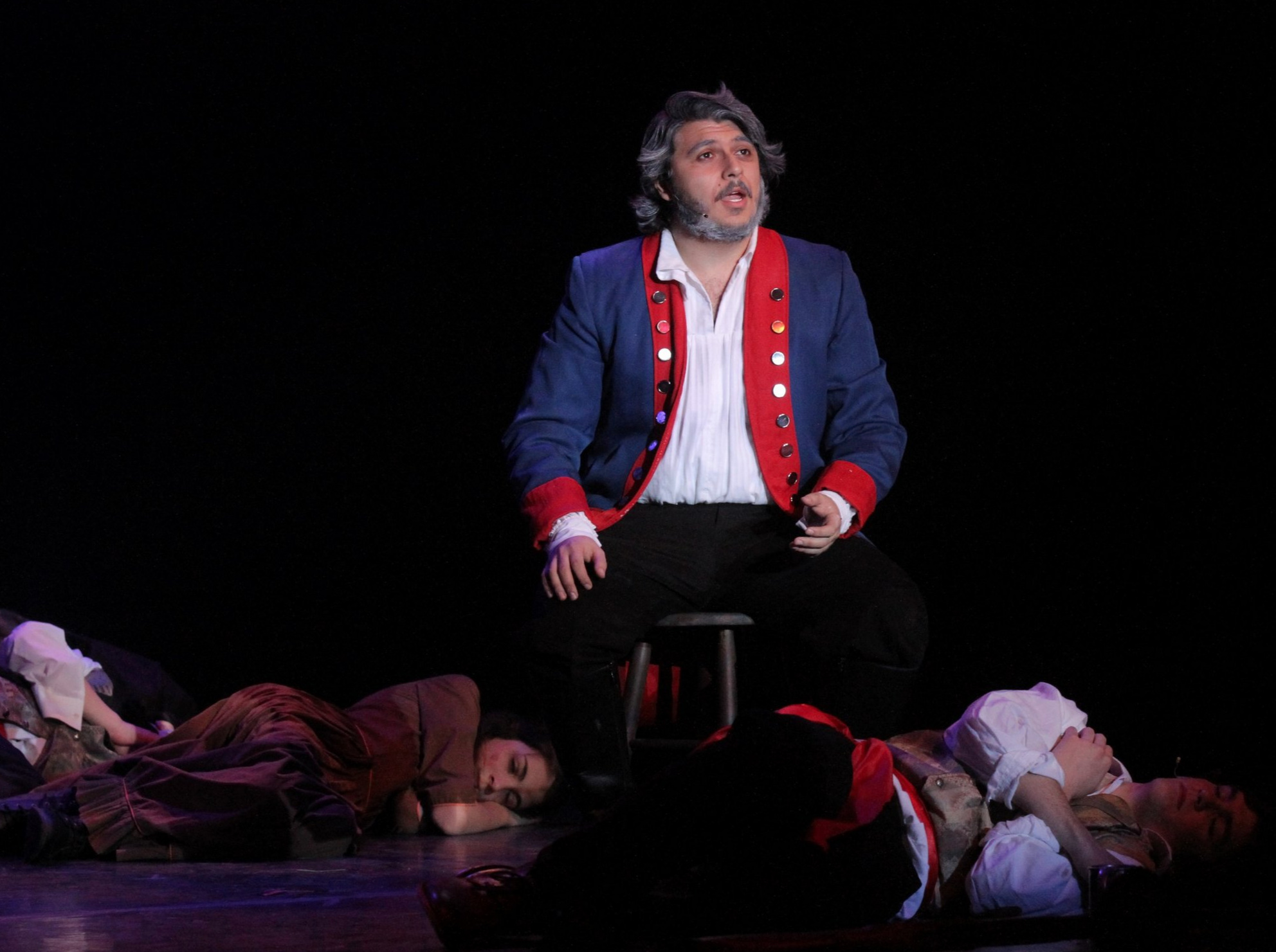 Areon Mobasher '13 as Jean Valjean in  Les Miserables