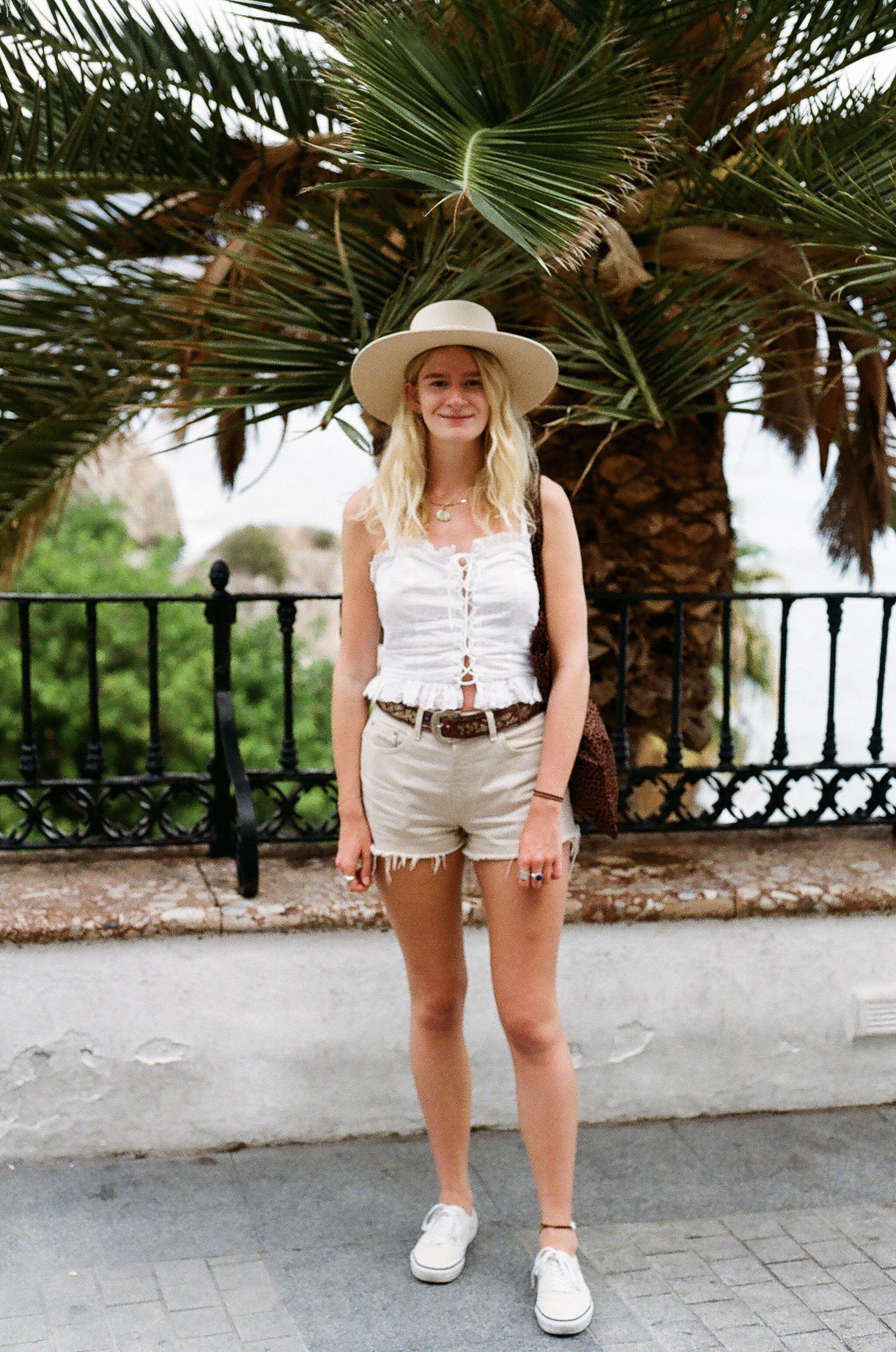 Lack of Color hat, H&M top, vintage Levi shorts and backless Vans