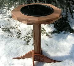 Heated Pedestal Cedar Bird Bath