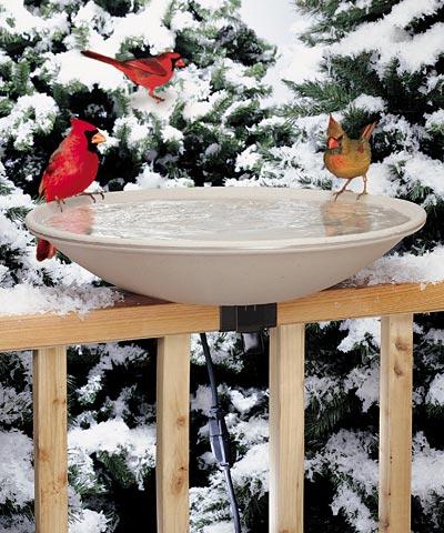 Heated Deck-mount Bird Bath