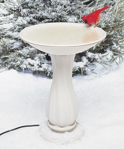 Heated Pedestal Plastic Bird Bath