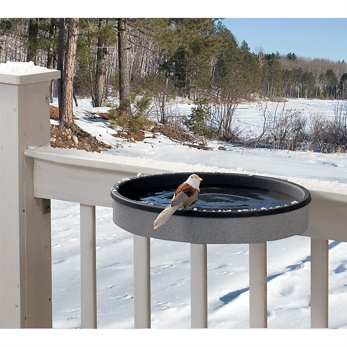 Heated Deck-mount Metal Bird Bath