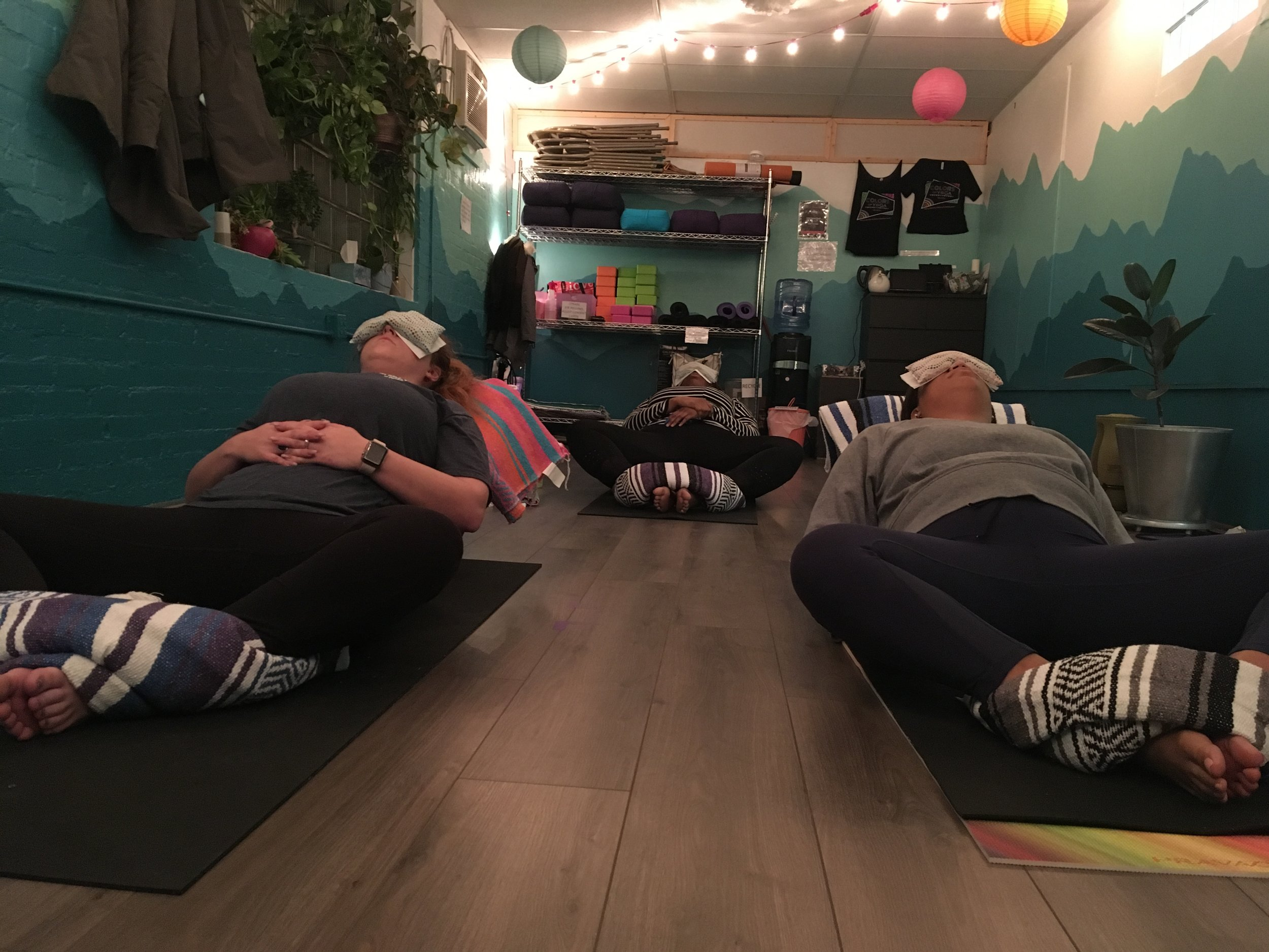 Monday night yoga class at  colors of yoga raleigh