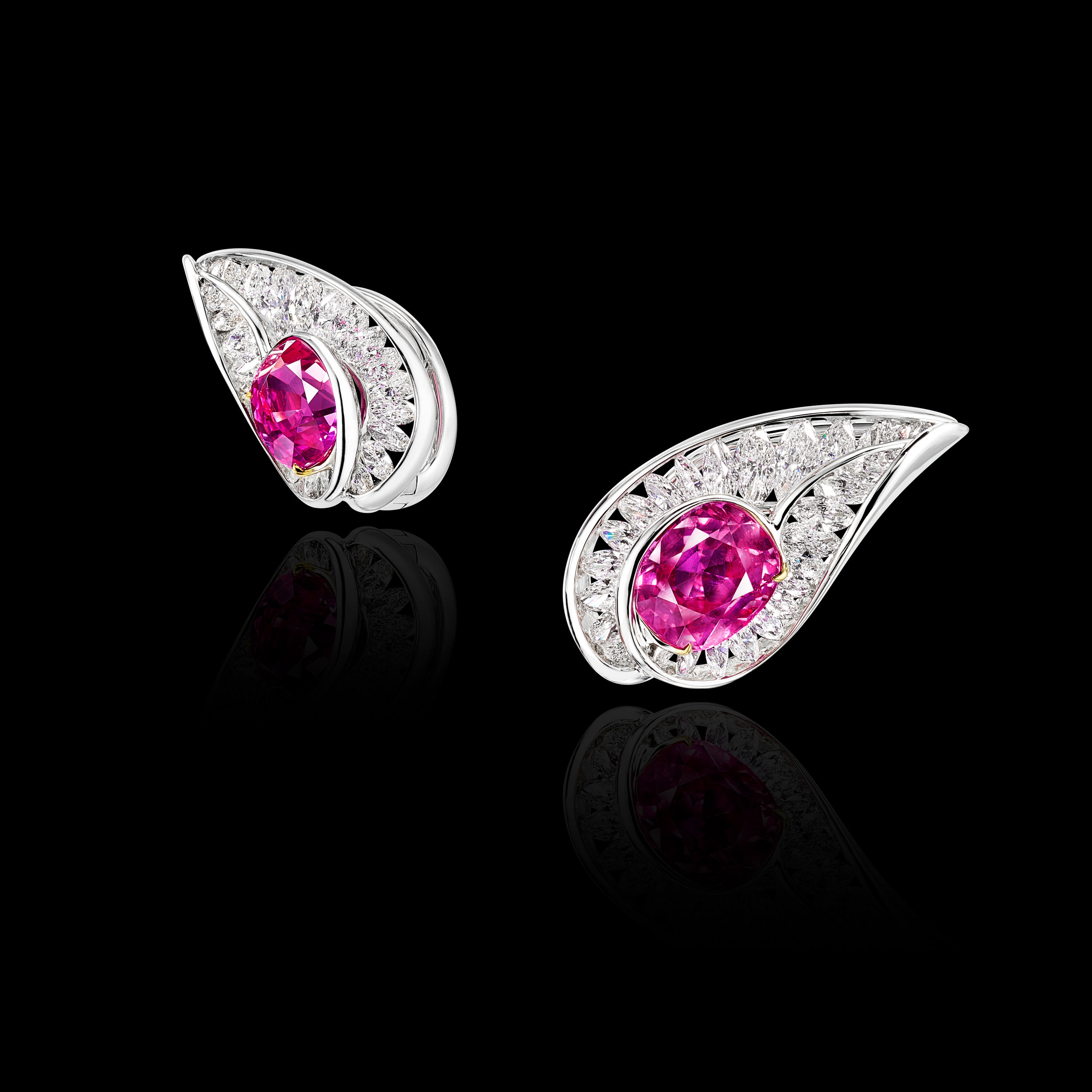 NATURAL BURMESE PINK SAPPHIRE EARRINGS