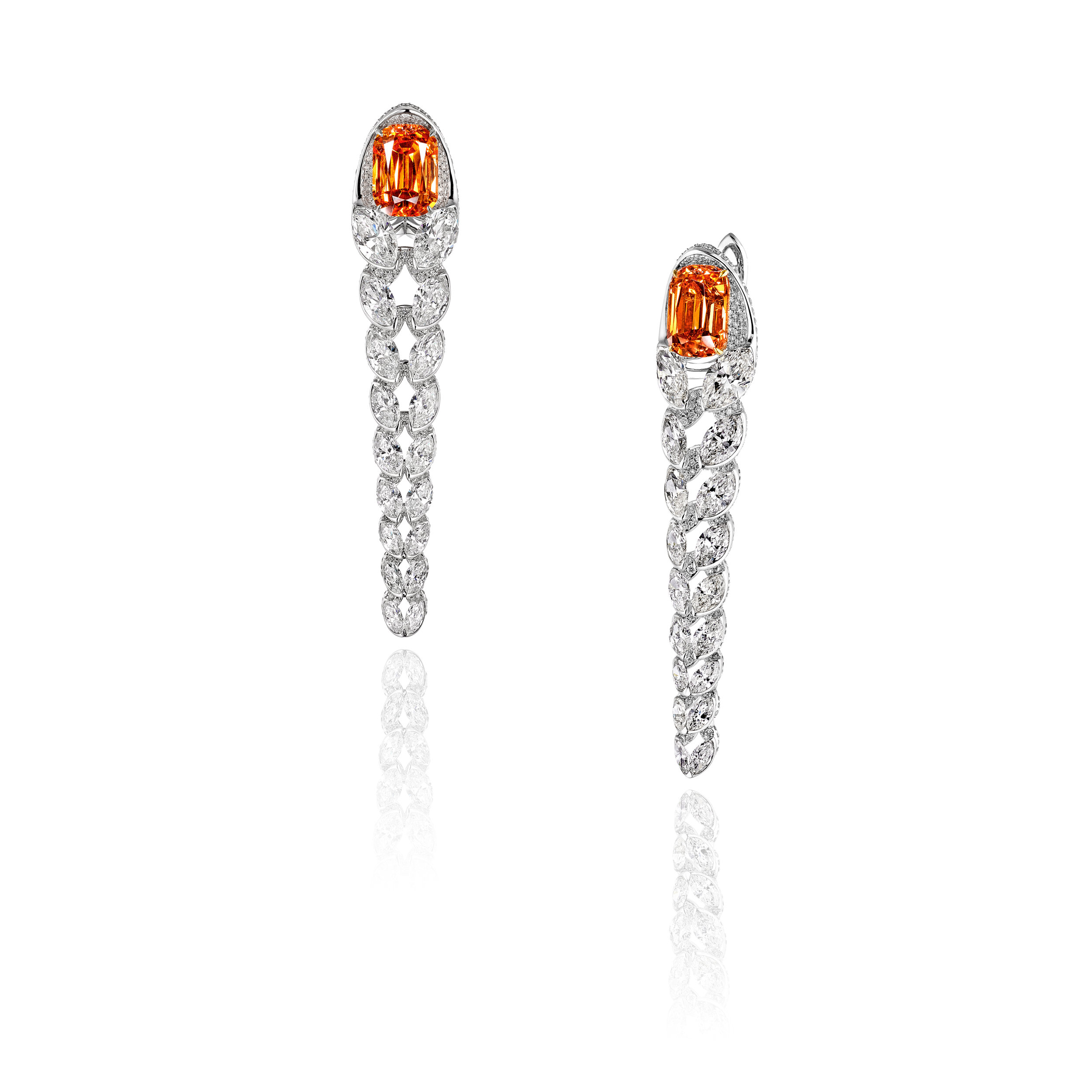 Mandarin Garnet Chandelier Earrings