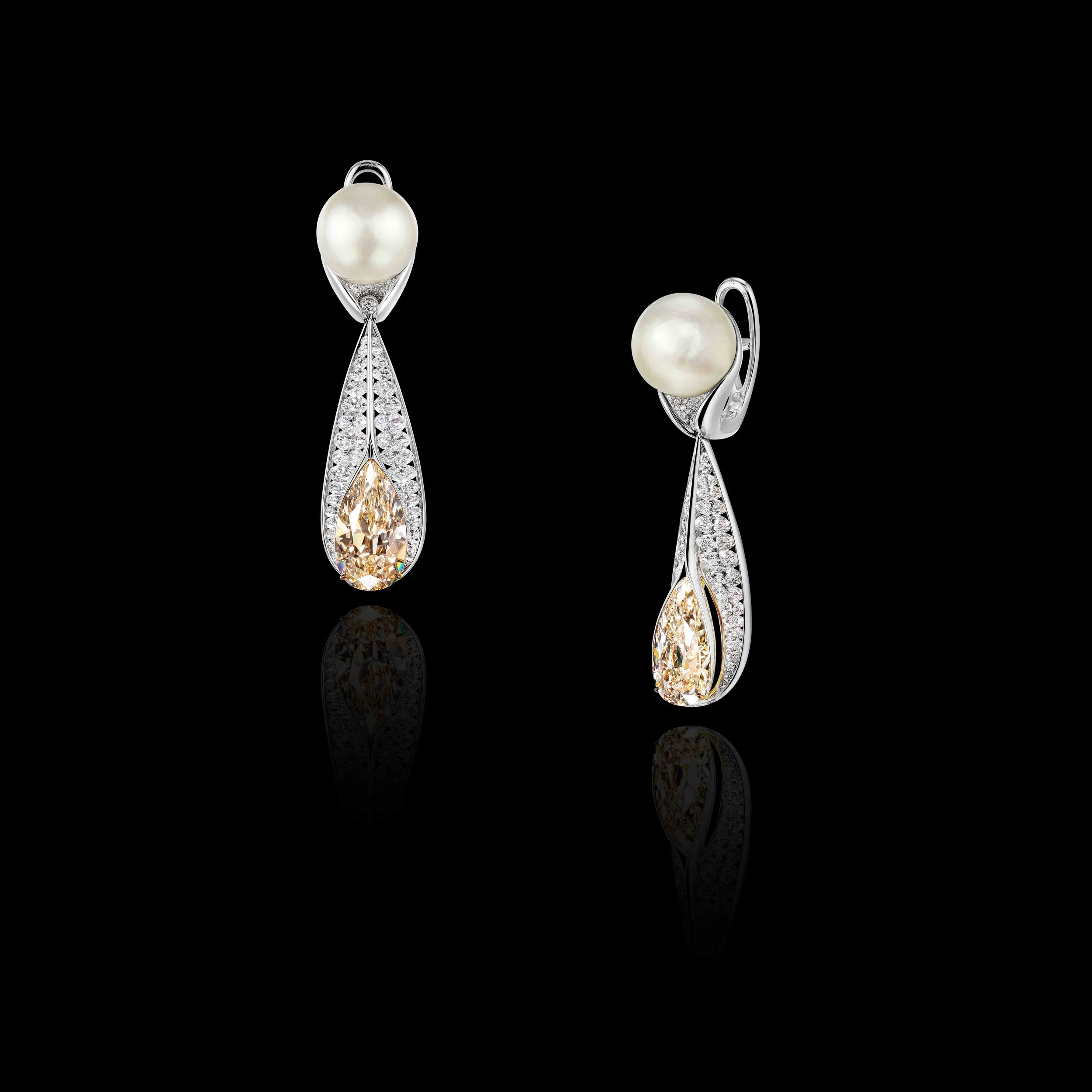 Natural Pearl & Diamond Earrings