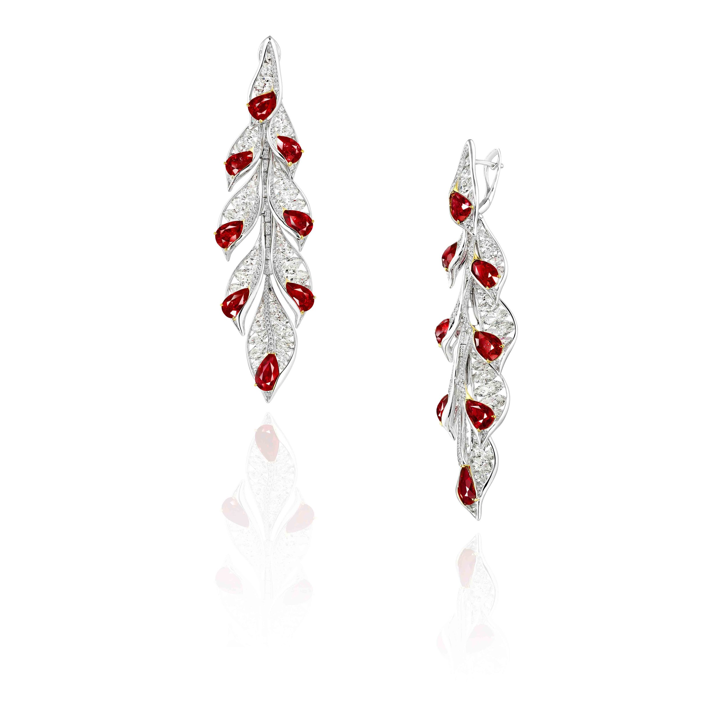 NATURAL RUBY & DIAMOND EARRINGS