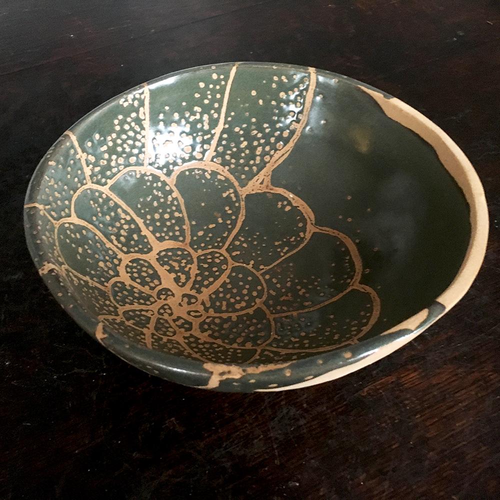 medium bowl in moss on blush clay