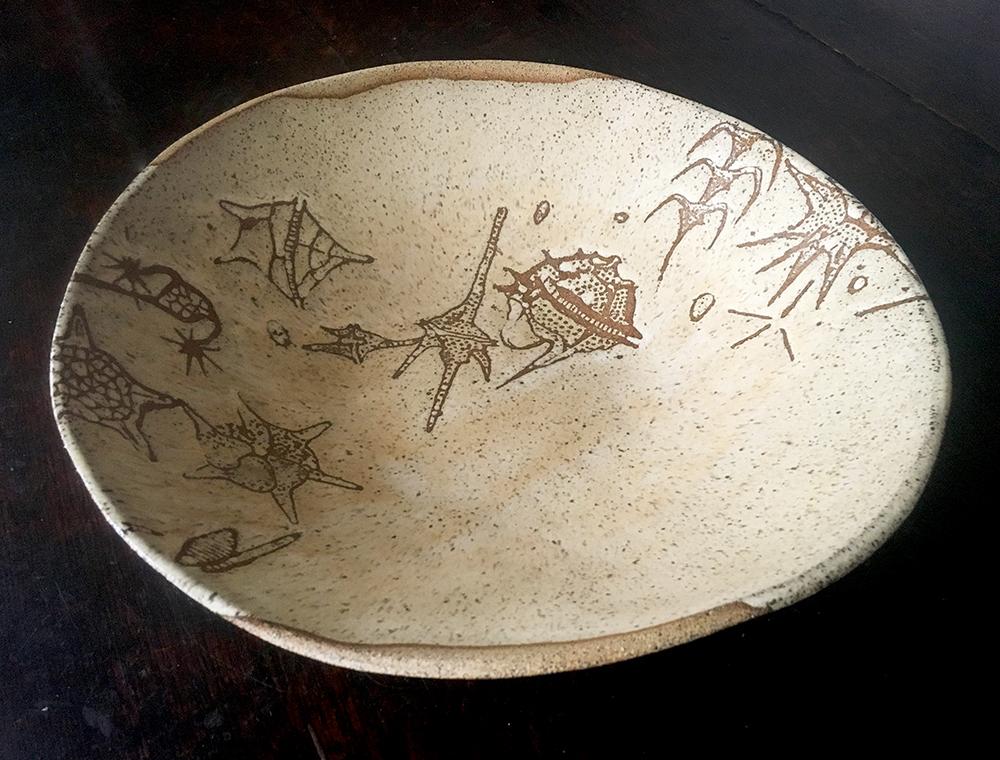 large bowl with dinoflagellates: créme brûlée on speckle clay