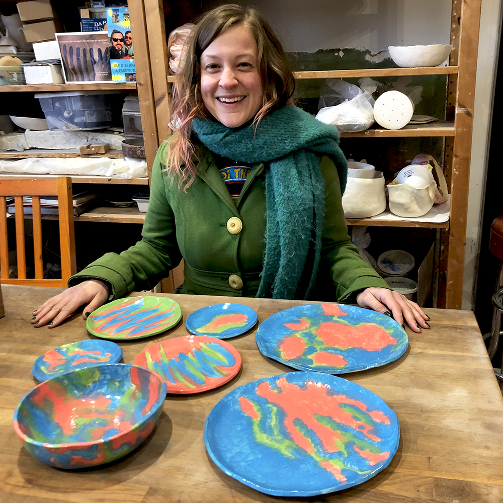 When you are wearing the colors you glazed you dinnerware when you pick up your finished work