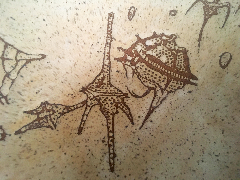 Detail of dinoflagellates on large bowl in créme brûlée on speckled clay
