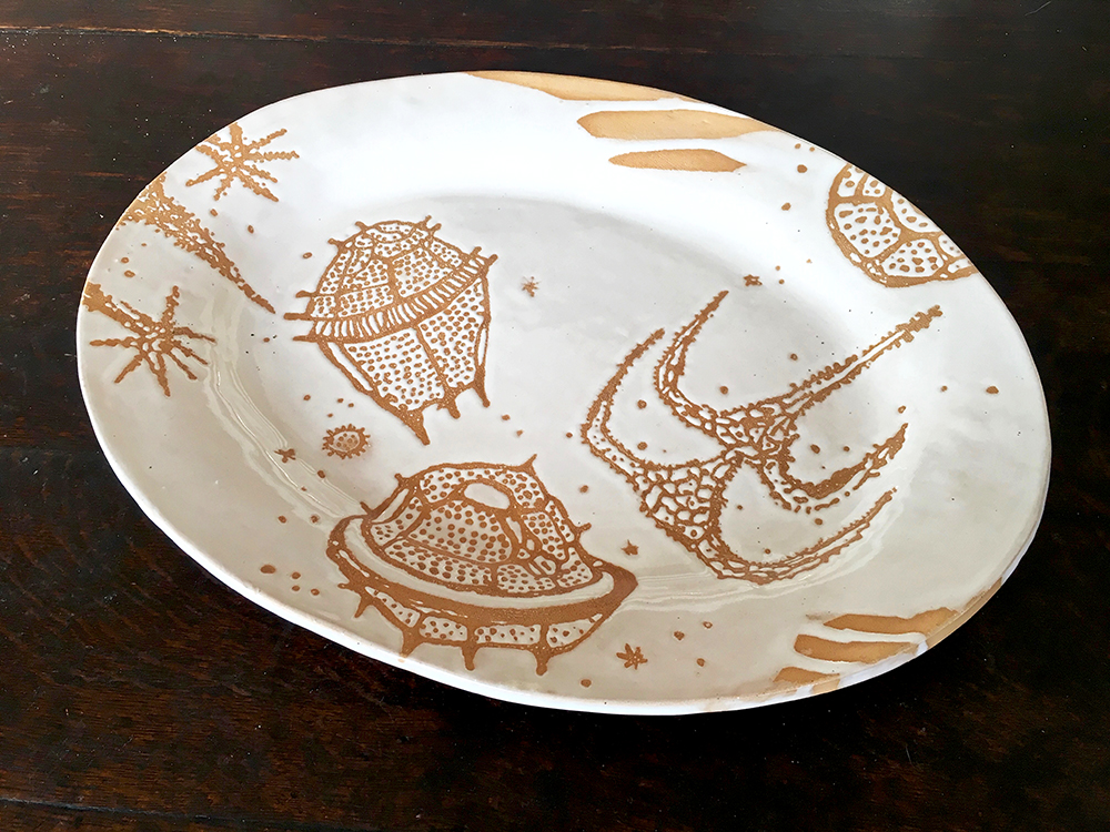 Wide-rimmed grand platter with dinoflagellates in white on blush clay