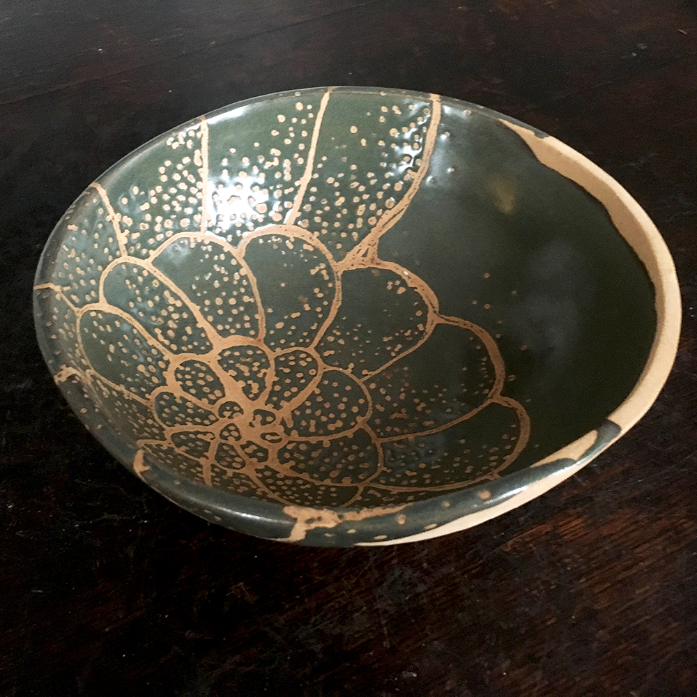 Medium bowl with colony in moss on blush clay