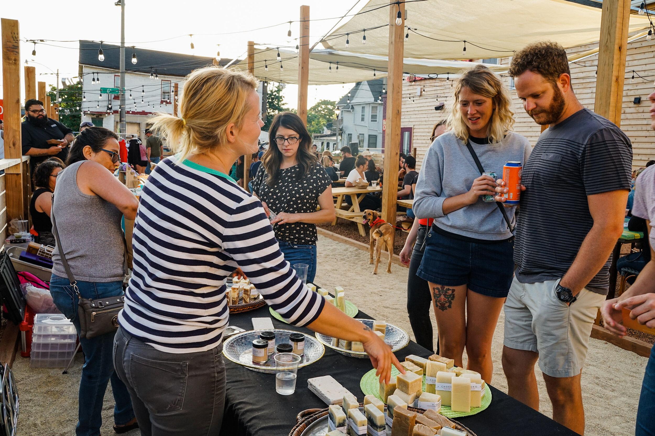 Vendors, Stephanie and Carol Alvarado from Choko Soap Co. at Bota Gala Night Market. Photo by Charlie and Taylor Photography.
