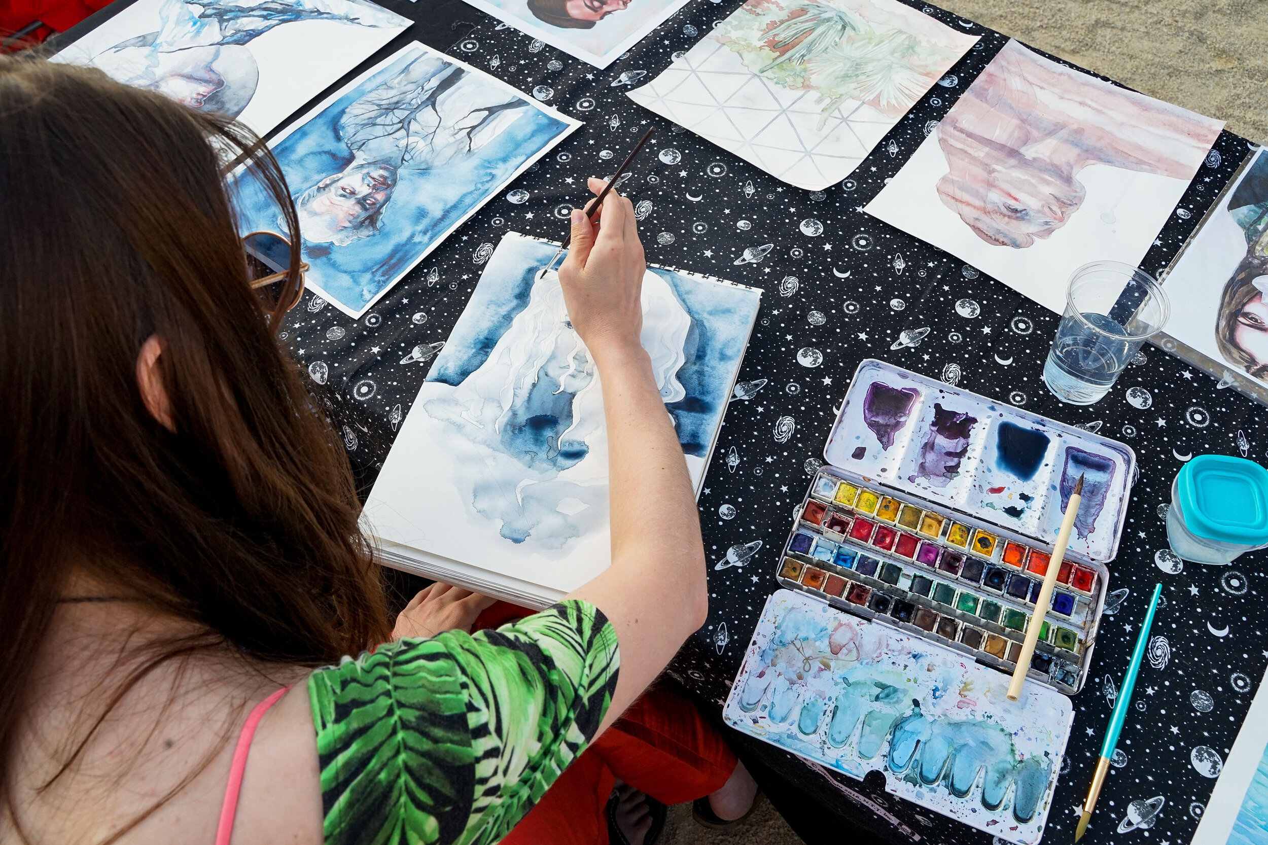 Art in progress by artist Kristen Lopez. Photograph by Charlie and Taylor Photography.