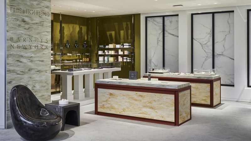 The High End at Barneys New York is a new 300-square-foot space dedicated to luxury cannabis paraphernalia on the top floor of the retailer's Beverly Hills store. It includes imported French rolling papers and $950 hand-blown glass bongs. (Dan Arnold / Barneys New York)