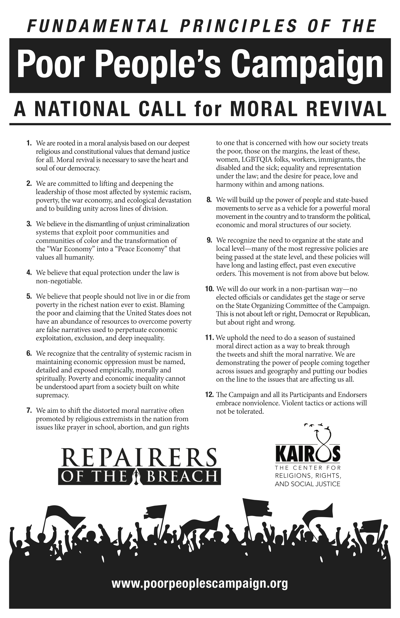 Fundamental Principles - A printable PDF of the Fundamental Principles of the Poor People's Campaign: A National Call for Moral Revival.En Español