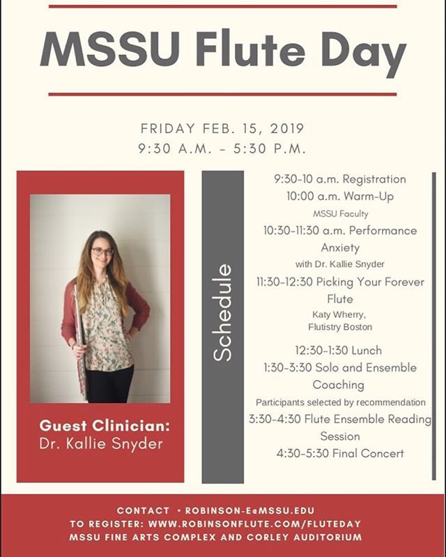 One week today I'll be a guest clinician for the Missouri Southern State University Flute Day! 🎶  I'll be talking performance anxiety, improvisation, and will play a little too 😊  Do I know anyone if the Joplin, Missouri area? If so, you should come out!  #thesoundmusician #musicianswellness #musicianshealth #communityovercompetition #classicalmusic #classicalmusicians #flute #flutes #anxietyawareness #anxietyrelief #musicianlife