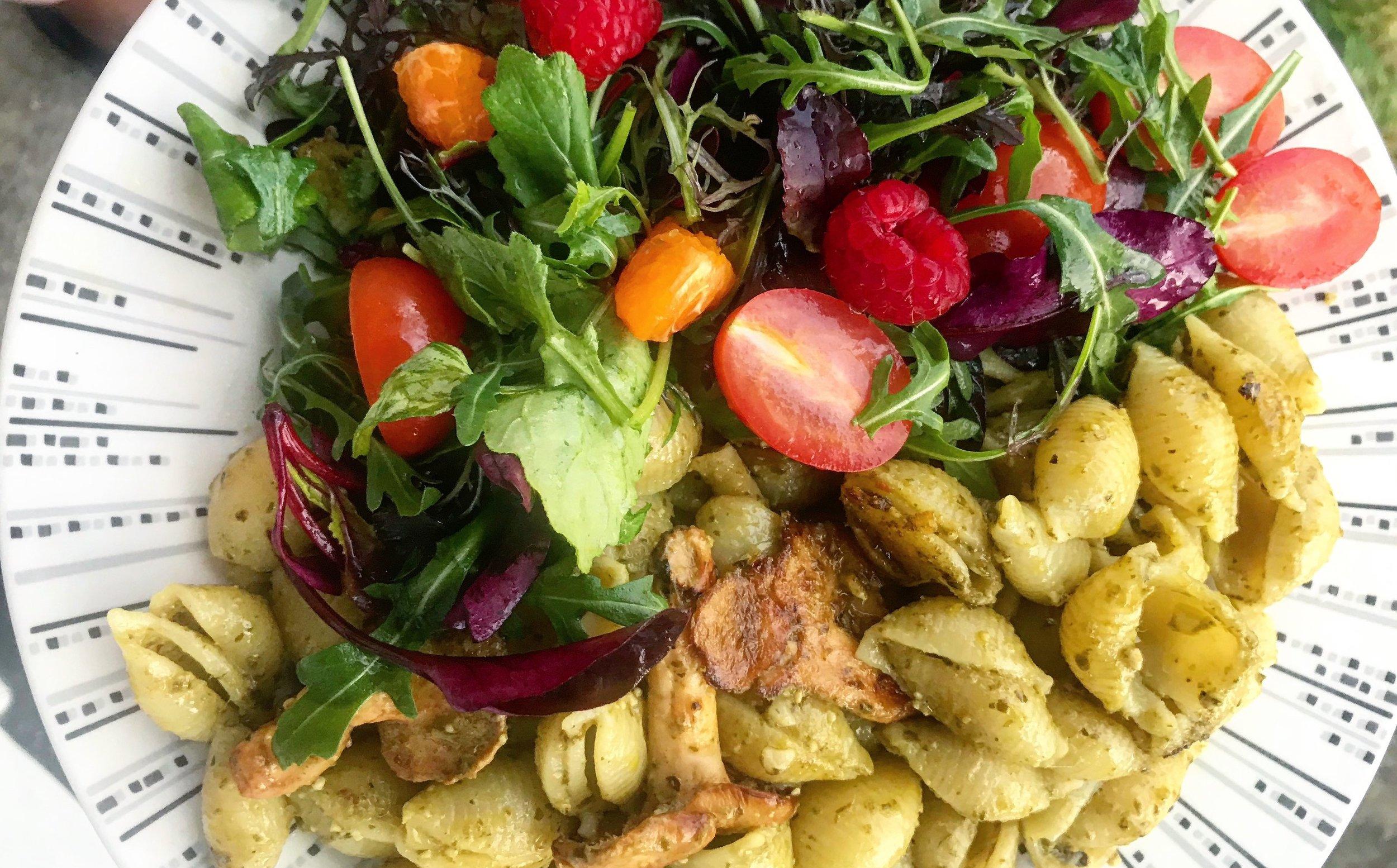 Salad & earthy aroma Maitako mushroom, pasta with spicy pesto. Very tasty treat! Mushrooms are great for you. They have many health benefits.
