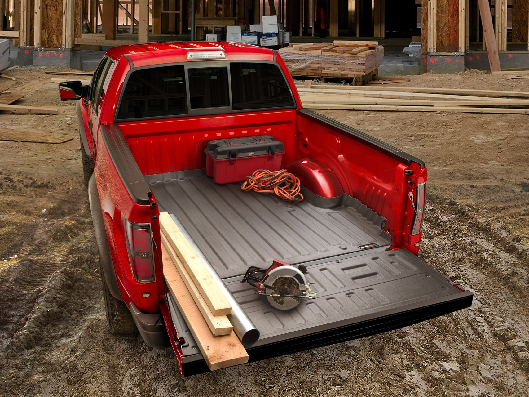 "TECH-LINER - Custom fit bed liner and tailgate liner that protects your truck from scratches, dings and dents. ""Soft touch"" material keeps your cargo from sliding."