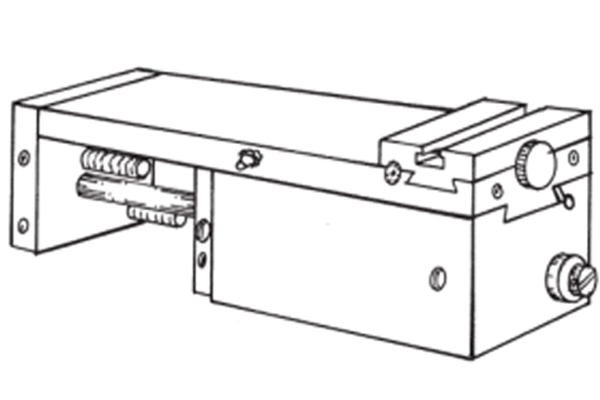 """#10-135 – FRONT CROSS SLIDE   For facing, grooving, chamfering, plunge with form tools, etc. 50mm (2"""") total stroke, up to 25mm (1"""") hydraulically controlled feed. The remaining stroke is rapid, also rapid retract. 152 lb. push at 100 PSI."""