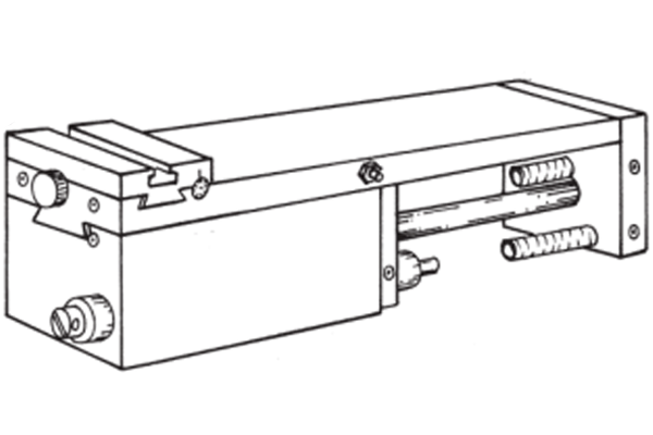 """#10-136 – TAIL SLIDE   For turning, boring, drilling chamfering, etc. 75mm (3"""") total stroke, up to 25mm (1"""") hydraulically controlled feed is standard. The remaining stroke is rapid, also rapid retract. 152 lb push at 100 PSI."""