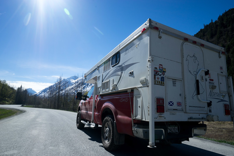 Dave-and-Jane-Brits-Scots-Ford-F250-Northstar-camper-in-Denali-Alaska-on-road-trip