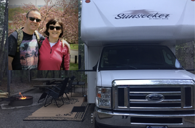 British-couple-in-their-40s-50s-own-RV-caravan-sunseeker-forest-river-in-America-for-year-long-road-trip-around-the-United-States