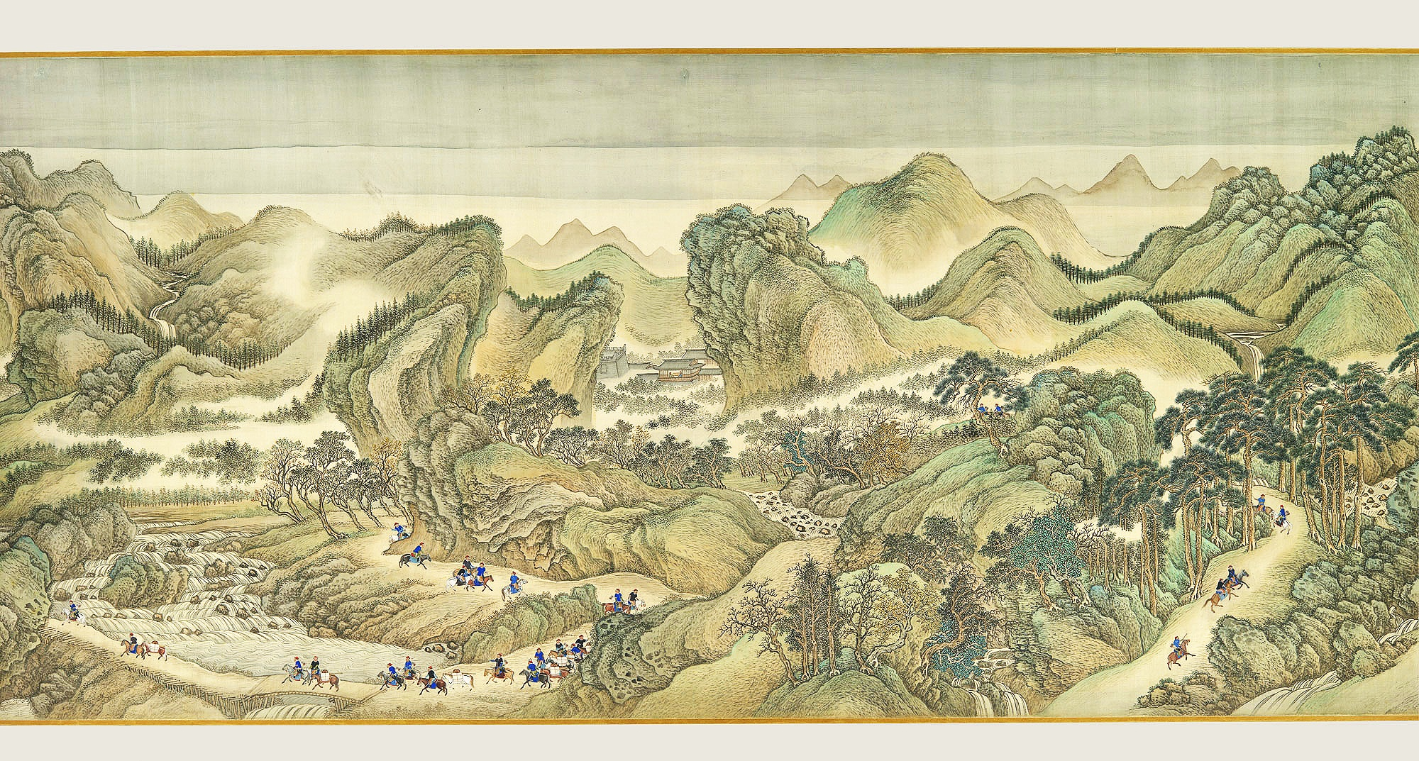 ( The Kangxi Emperor's Southern Inspection Tour, Scroll Three: Ji'nan to Mount Tai , by Wang Hui and assistants)