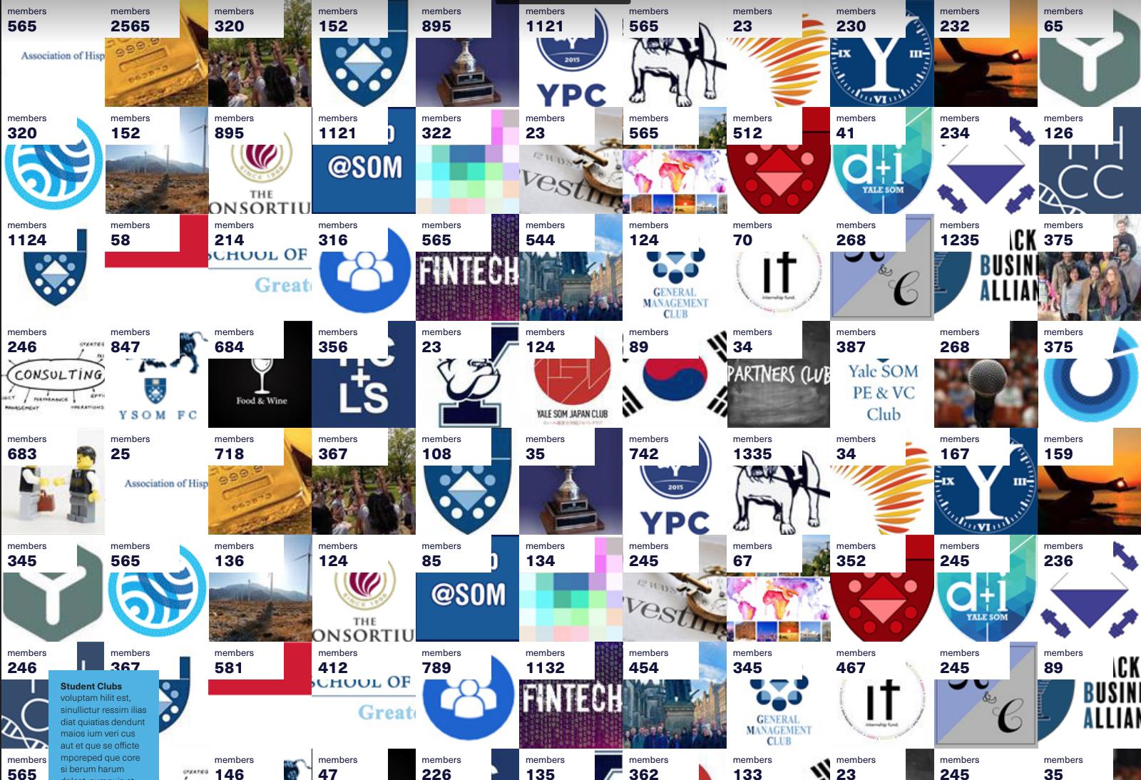 Prototyping ideas- showcasing club logos