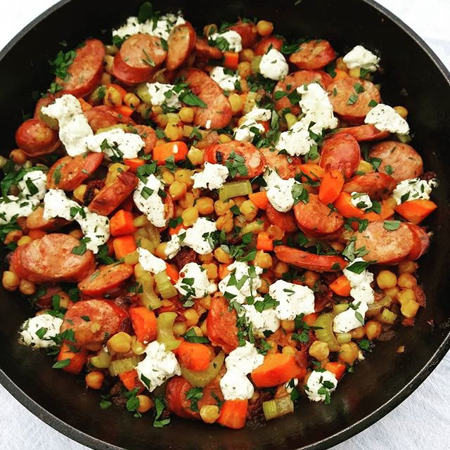 Tried this chickpea and andouille skillet on vacation last week. It was so yummy that I made it again this week! Can't wait to share it with you soon.