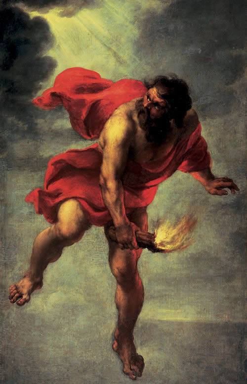 Prometheus Carrying Fire , Jan Cossiers 1636. The carrying and relaying of fire is a well-known motif, one we watch re-enacted at the beginning of every Olympics.