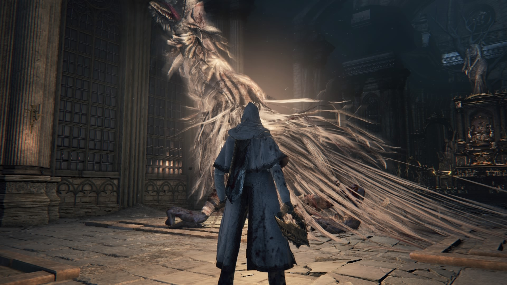 The player faces down with Vicar Amelia inside the Grand Cathedral in Cathedral Ward.