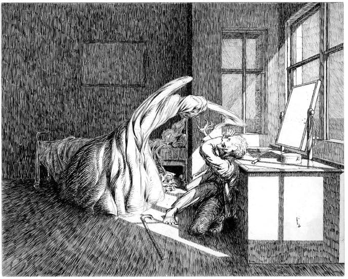 McBryde's famous illustration of the pivotal moment of James'  Oh, Whistle, and I'll Come to You, My Lad.