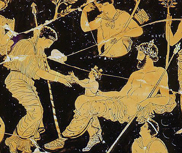 The birth of Dionysus from Zeus' leg, as visualised on a volute krater from the fourth-century B.C.