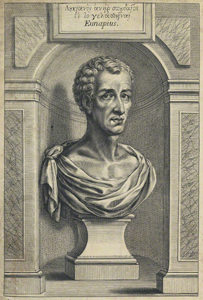 An imagined portrait of Lucian by William Faithorne, from the frontispiece to the expanded 1664 edition of Francis Hickes'  Certaine Select Dialogues of Lucian .