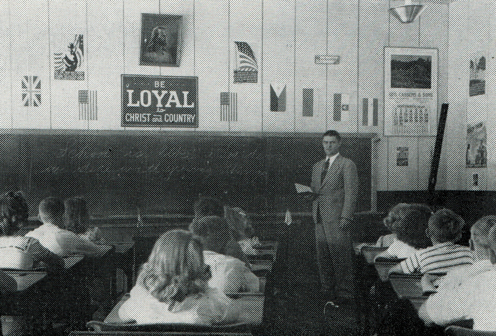 The upper grades classroom at the current school building in 1956
