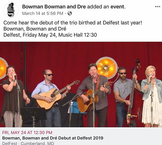 Can't wait for this! #debut #delfest #delfest2019 #bowmanbowmananddre . . . . #newvocaltrio #harmonies #dreanders  #ronniebowman #garnetbowman  #newcountrymusic #bluegrassmusic #loveoneanother #singersongwriters  #festivalseason #newmusic