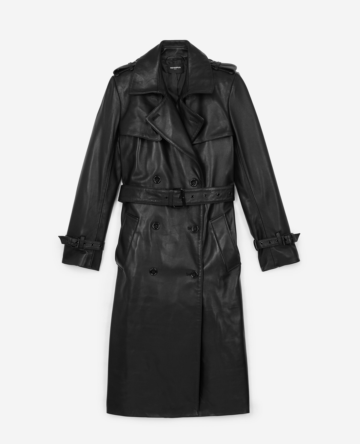 The Couples Black Leather Trench Coat