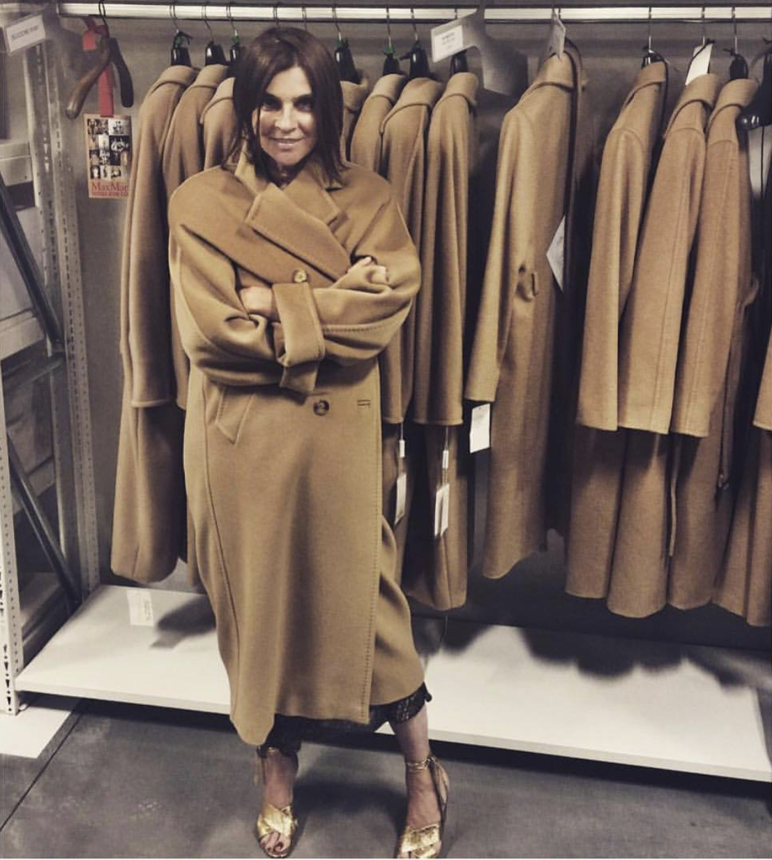 """Did you know that Carine was the person who initially made Max Mara's """"Teddy"""" coat famous? Source of the picture unknown"""