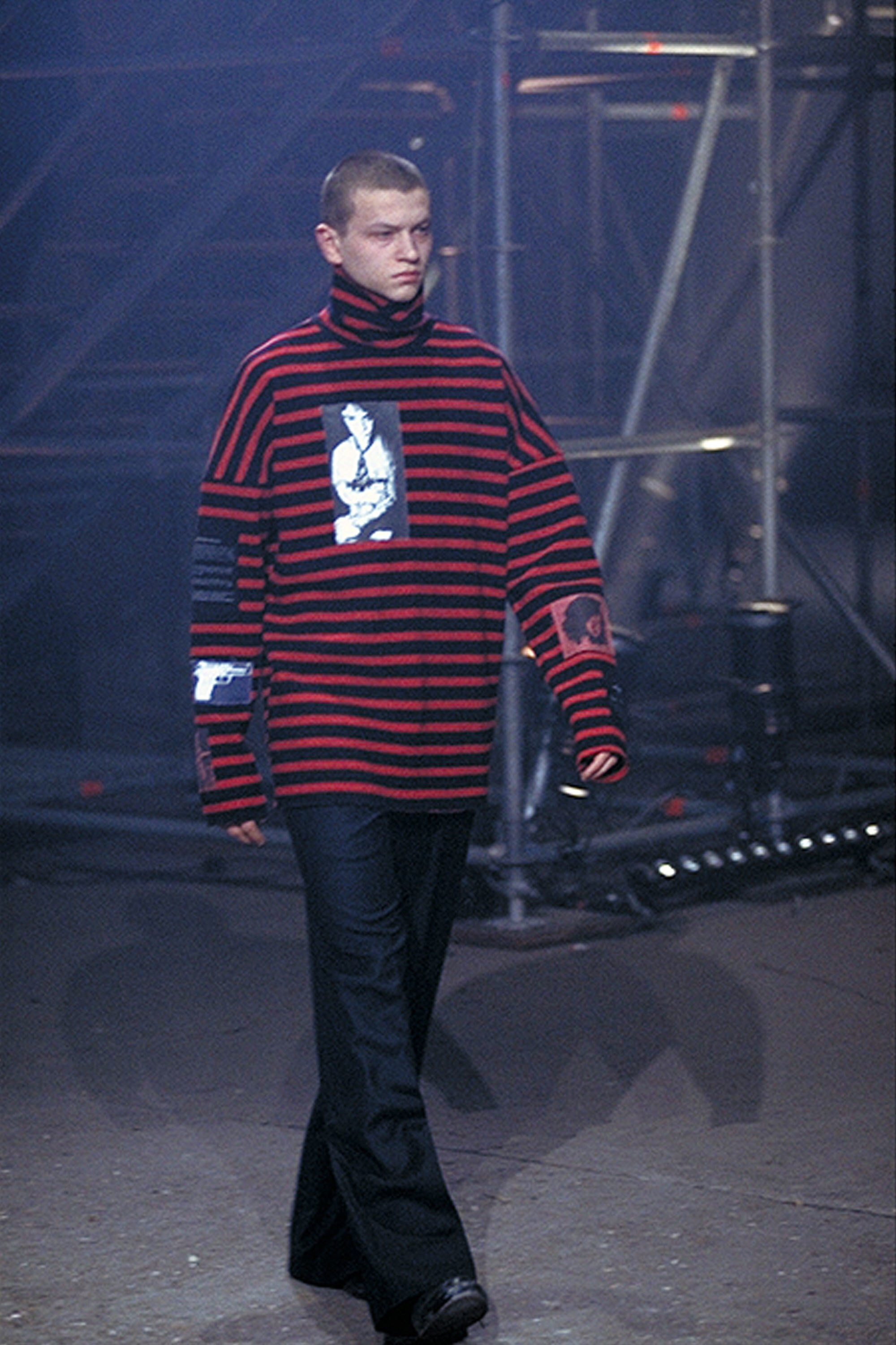 Image of Thomas Haustein as Detlev R. In Christiane F. - we children from Bahnhof Zoo in a Raf Simons AW01 sweater taken from the Vogue Runway app
