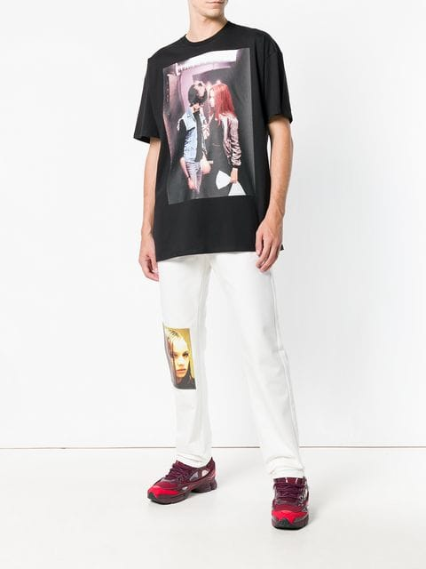Pants from Raf Simons' AW18 collection with picture of  Natja Brunckhorst  as Christiane F. in the Biopic of Christiane F.'s life picture taken from farfetch.com