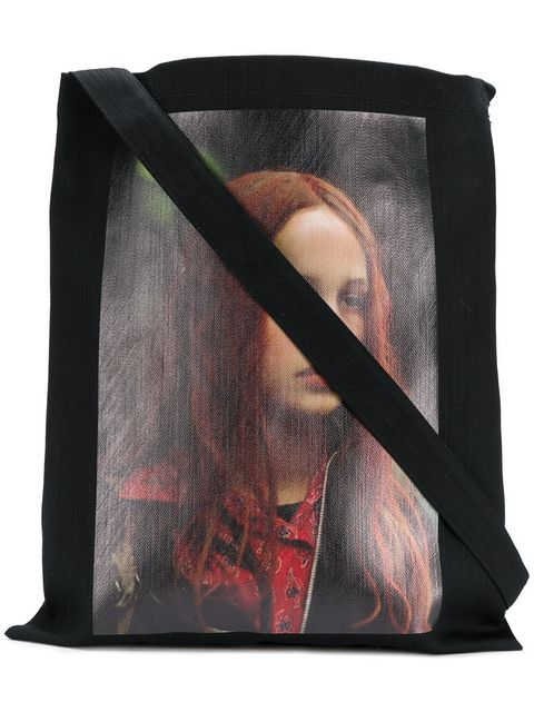 Tote from Raf Simons's AW18 collection with picture of  Natja Brunckhorst  as Christiane F. in the Biopic of Christiane F.'s life picture taken from farfetch.com
