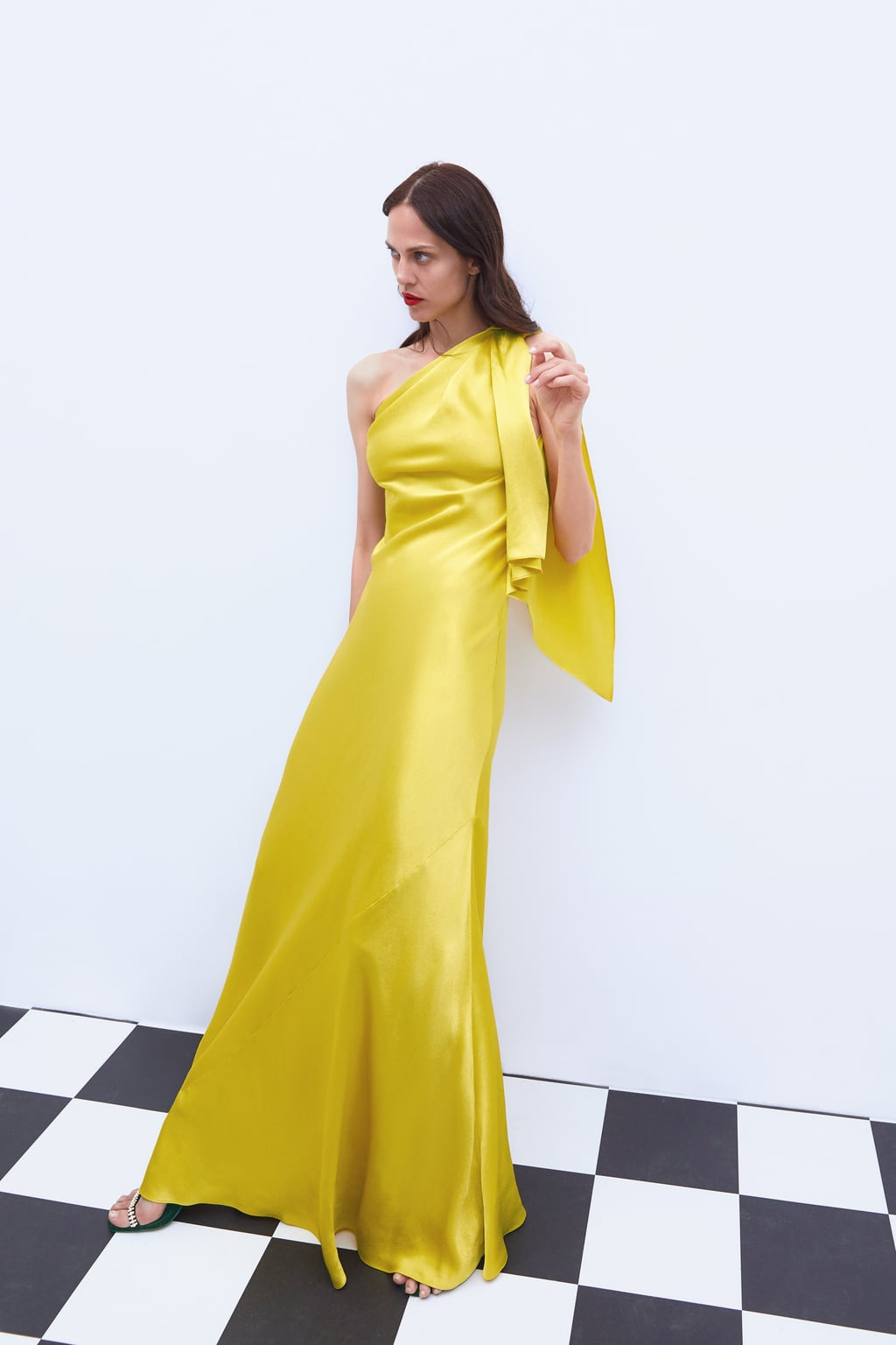 YELLOW ONE-SHOULDER DRESS - 95.99 GBP